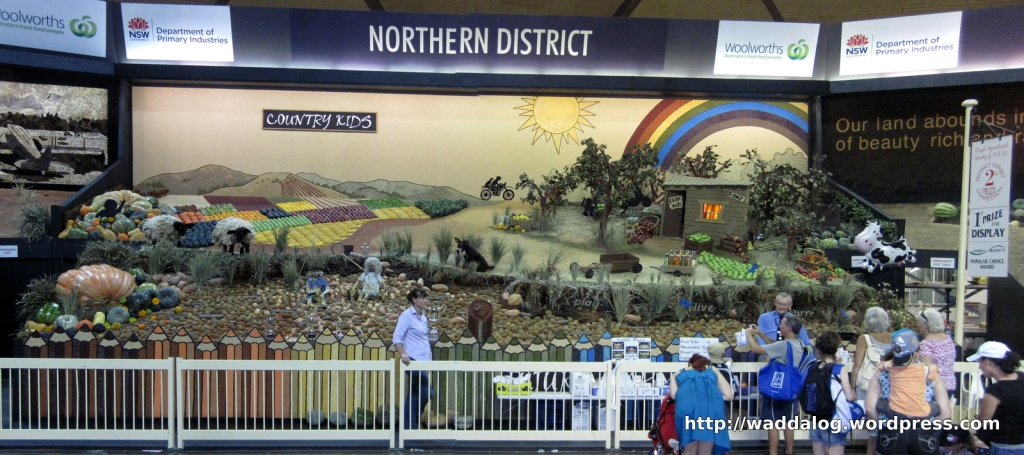 Northern District Agricultural Display.  The lady in the foreground, behind the fence, gave us the low down on the display, the fierce competition between districts, and where to see the giant pumpkin